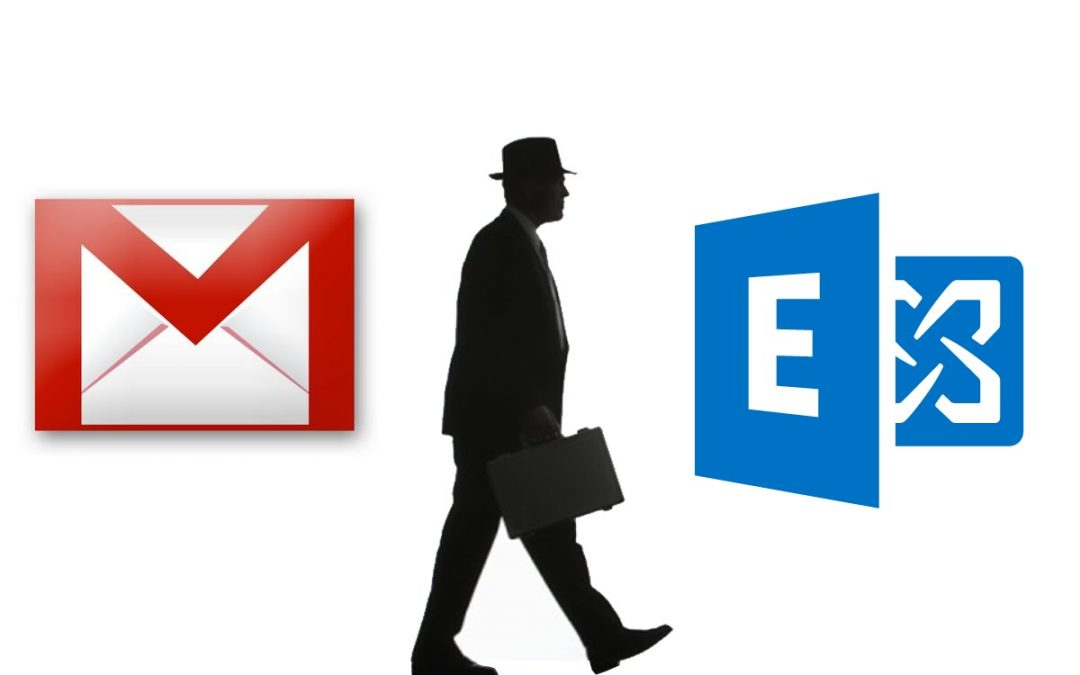 Gmail logo and Office 365 logo with man in the middle.