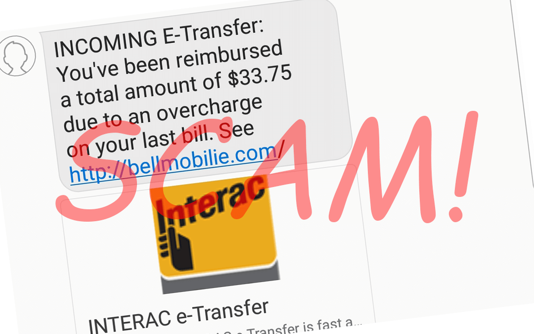 Bell Mobilie Text Scam for Interact e-Transfer
